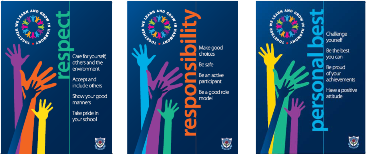 Image of our school values Respect, Responsibility and Personal Best